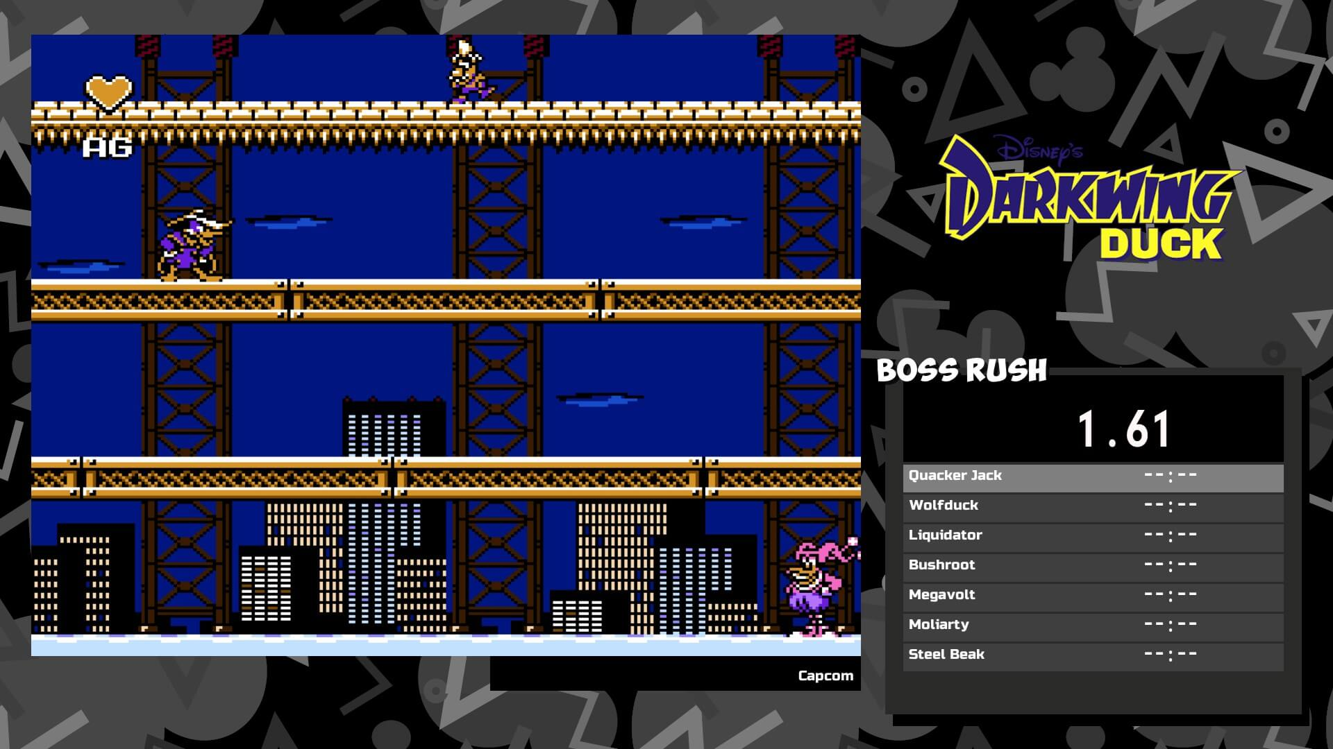 Boss Attack puts you in a series of battles against foes like Quackerjack here from Darkwing Duck.