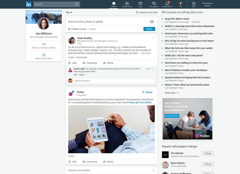 LinkedIn's Trending Storylines on desktop.