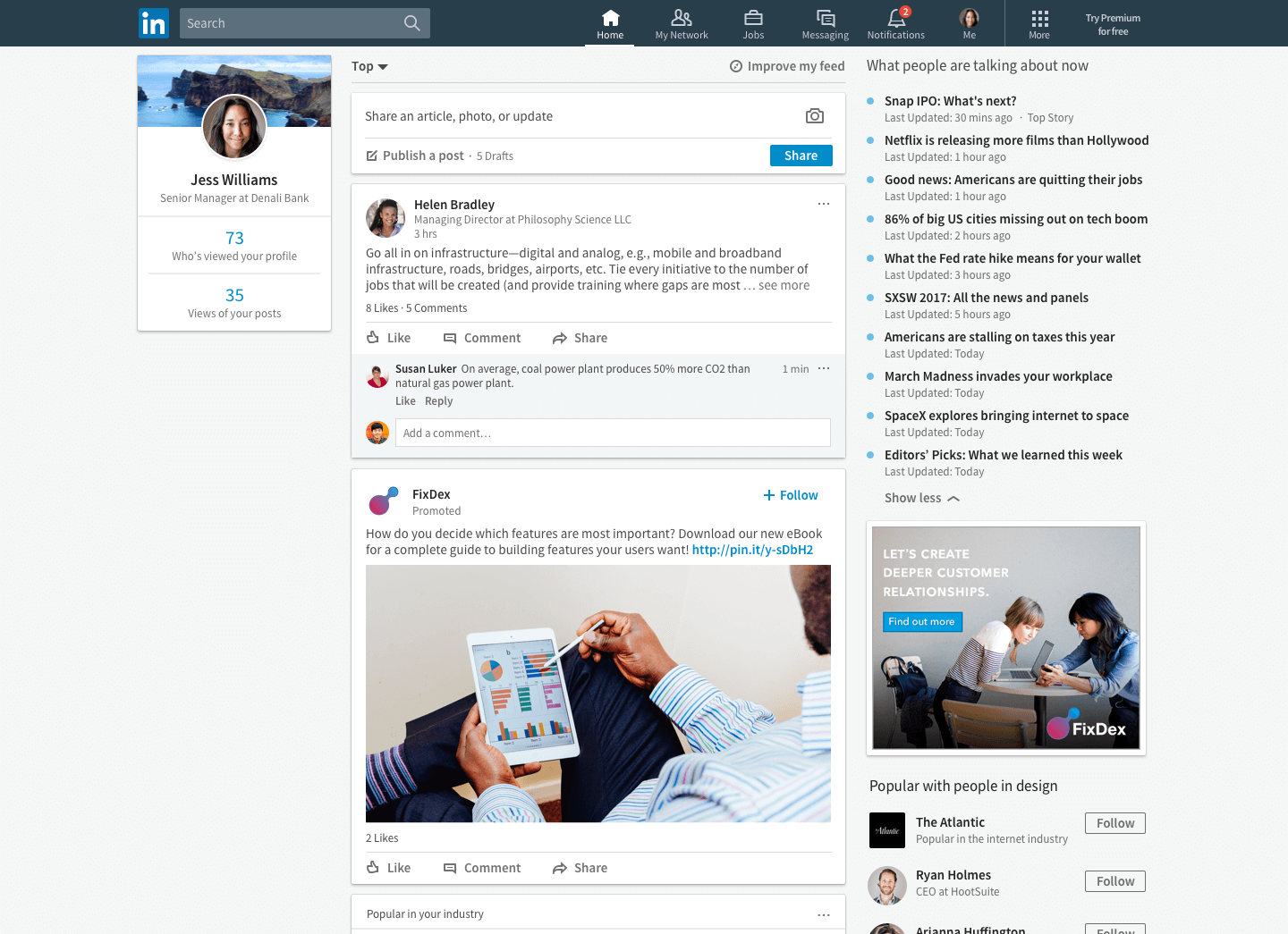 LinkedIn's Trending Storylines on desktop.