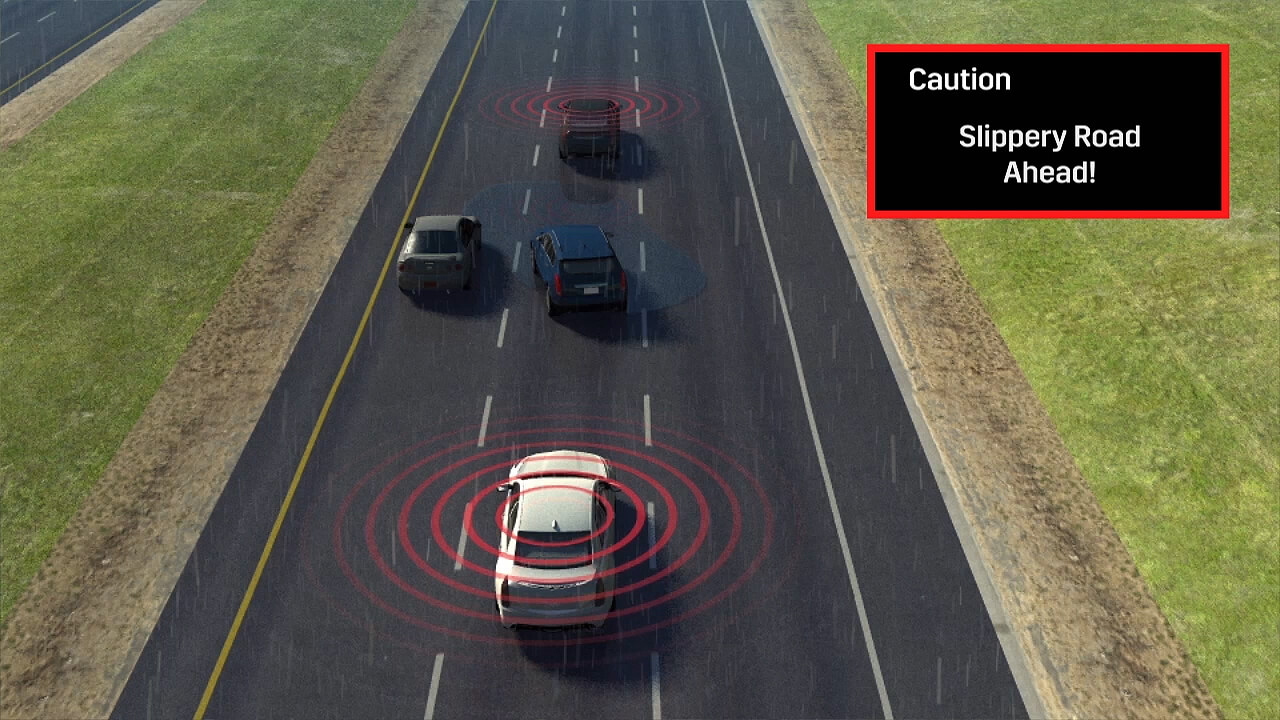 """When a V2V-equipped vehicle ahead is detected to have a StabiliTrak, traction control or anti-lock brake event, 2017 Cadillac CTS drivers will get a """"Slippery Road Ahead"""" alert, allowing them to slow down and carefully proceed."""