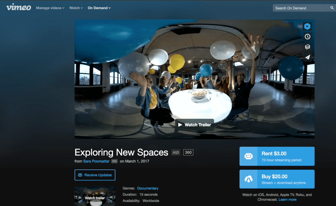 360 videos can now be sold on Vimeo's on demand marketplace.