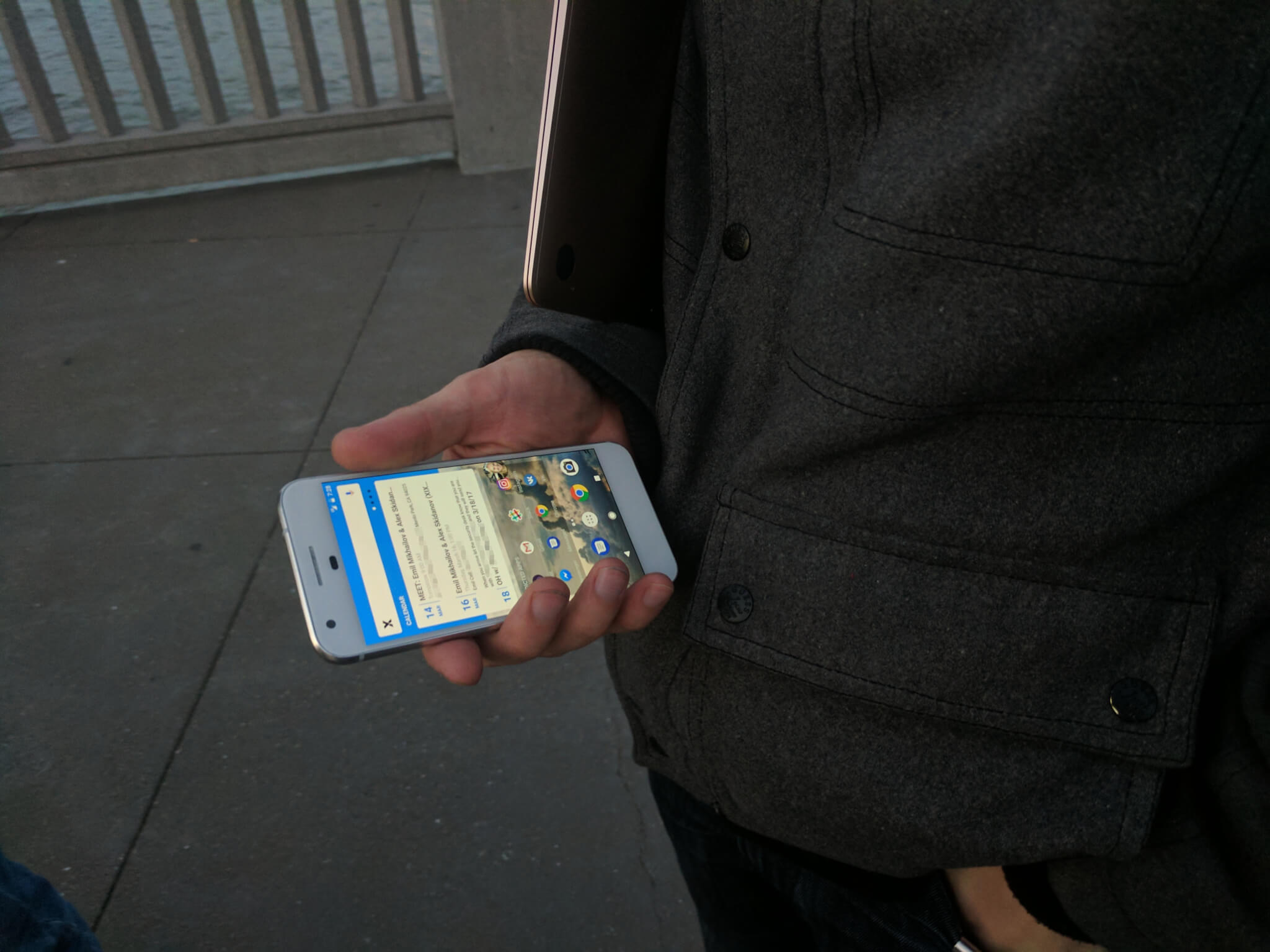 Skidanov and his Google Pixel with the third version of Xix One.