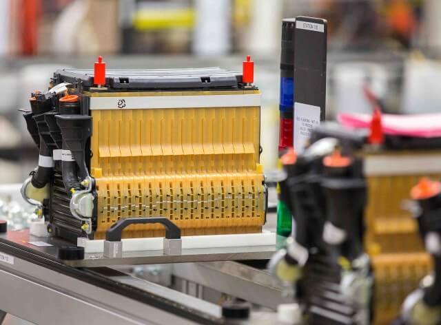 Battery pack assembly for 2015 Chevrolet Spark EV electric car at GM's Brownstown, Michigan, plant.