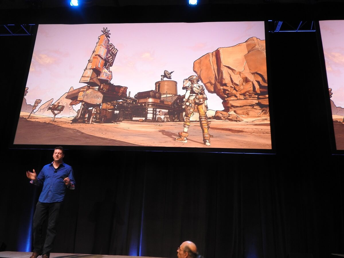 Randy Pitchford shows a tech demo of a Borderlands style environment.