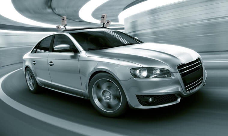 LiDAR sensors atop a self-driving car.