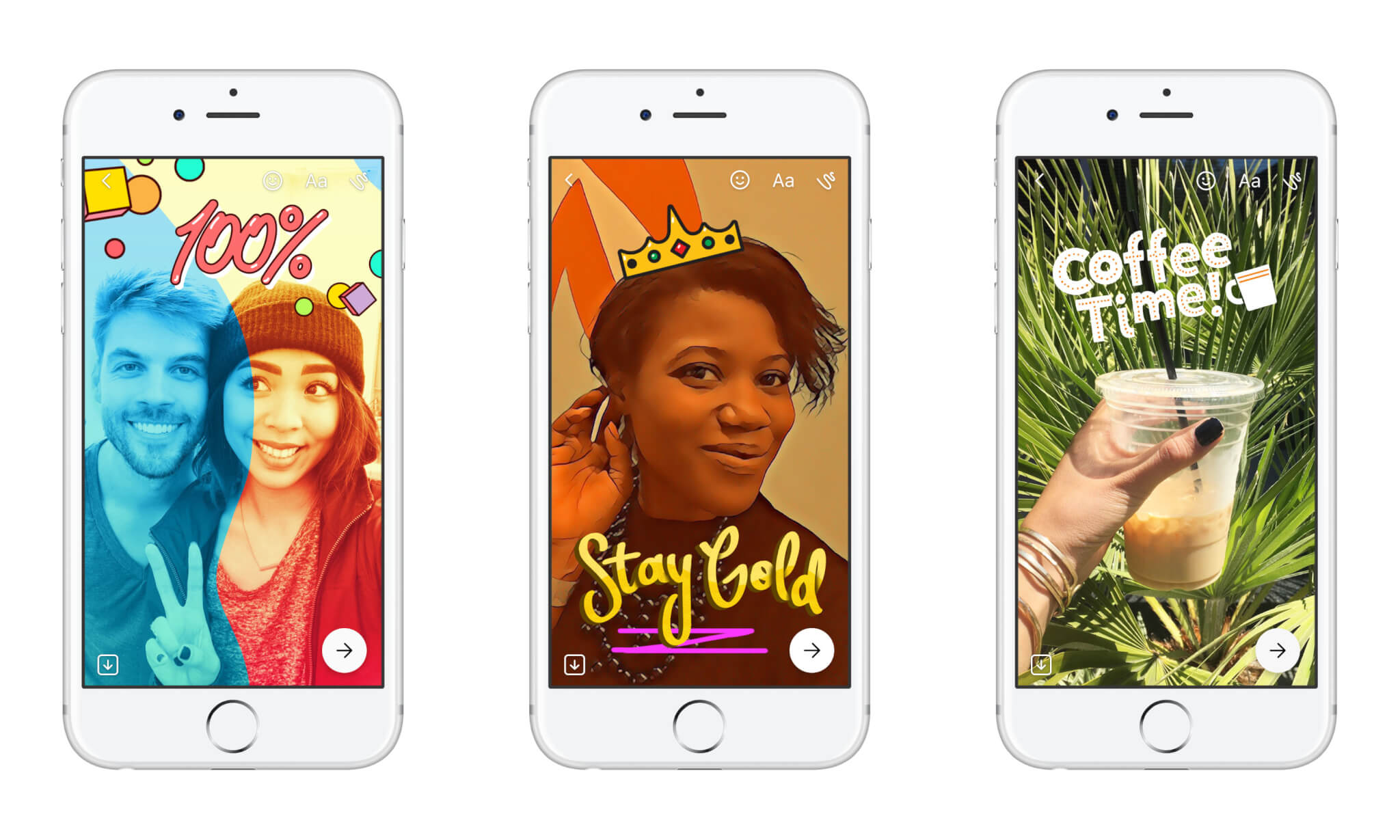 Effects, filters, and stickers are available for Messenger Day.