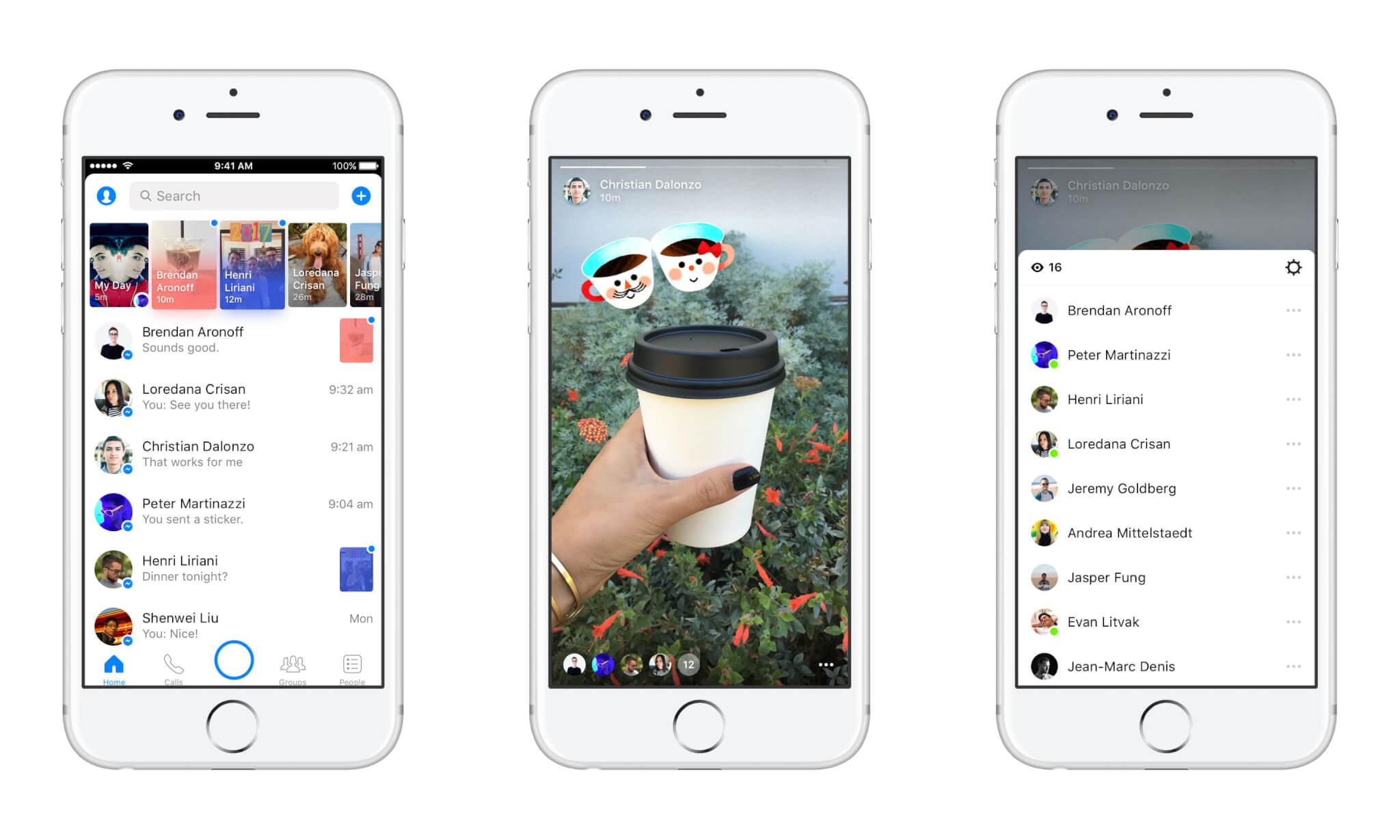 iOS screenshots of Messenger Day.