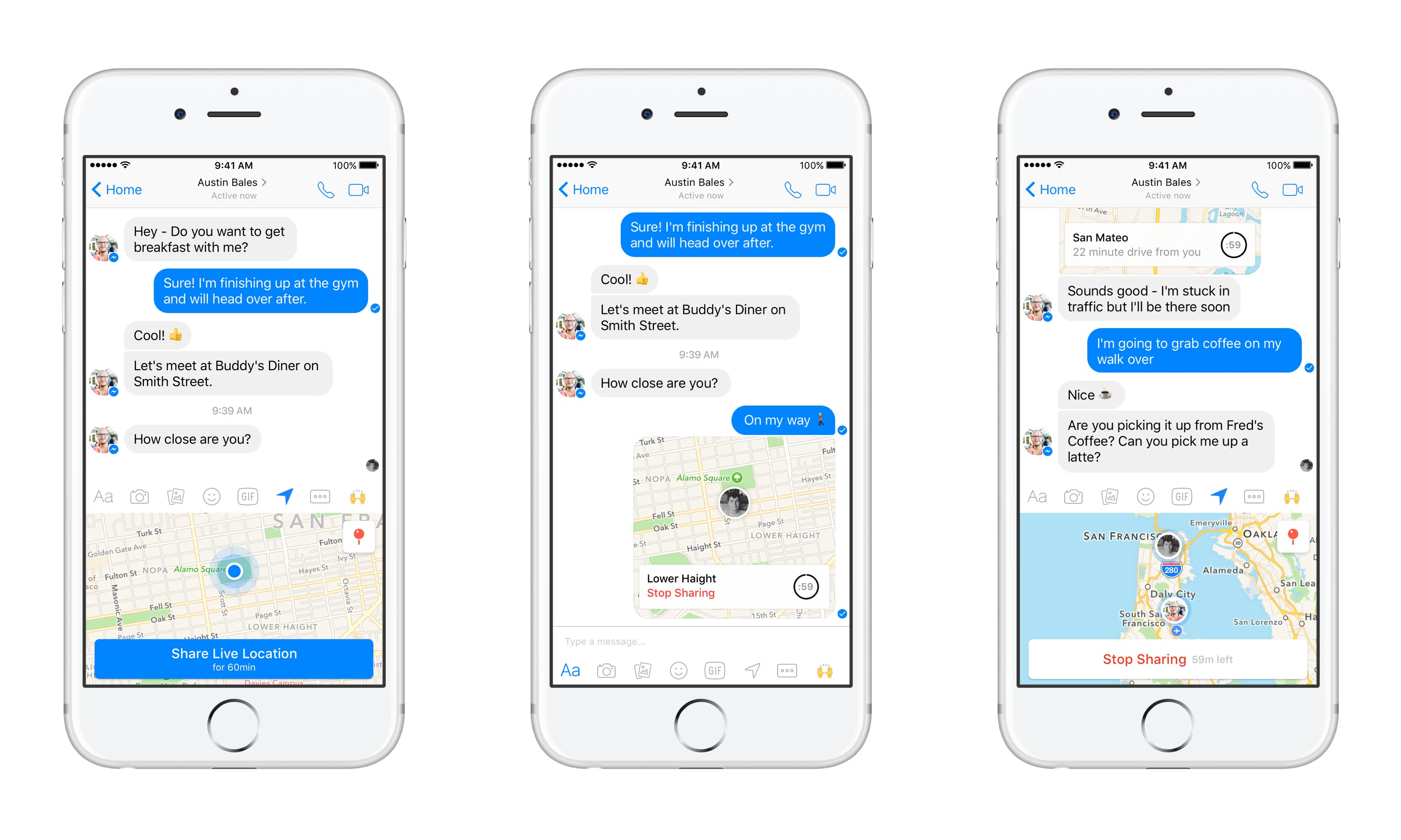 Facebook Messenger now lets you share your live location, but only