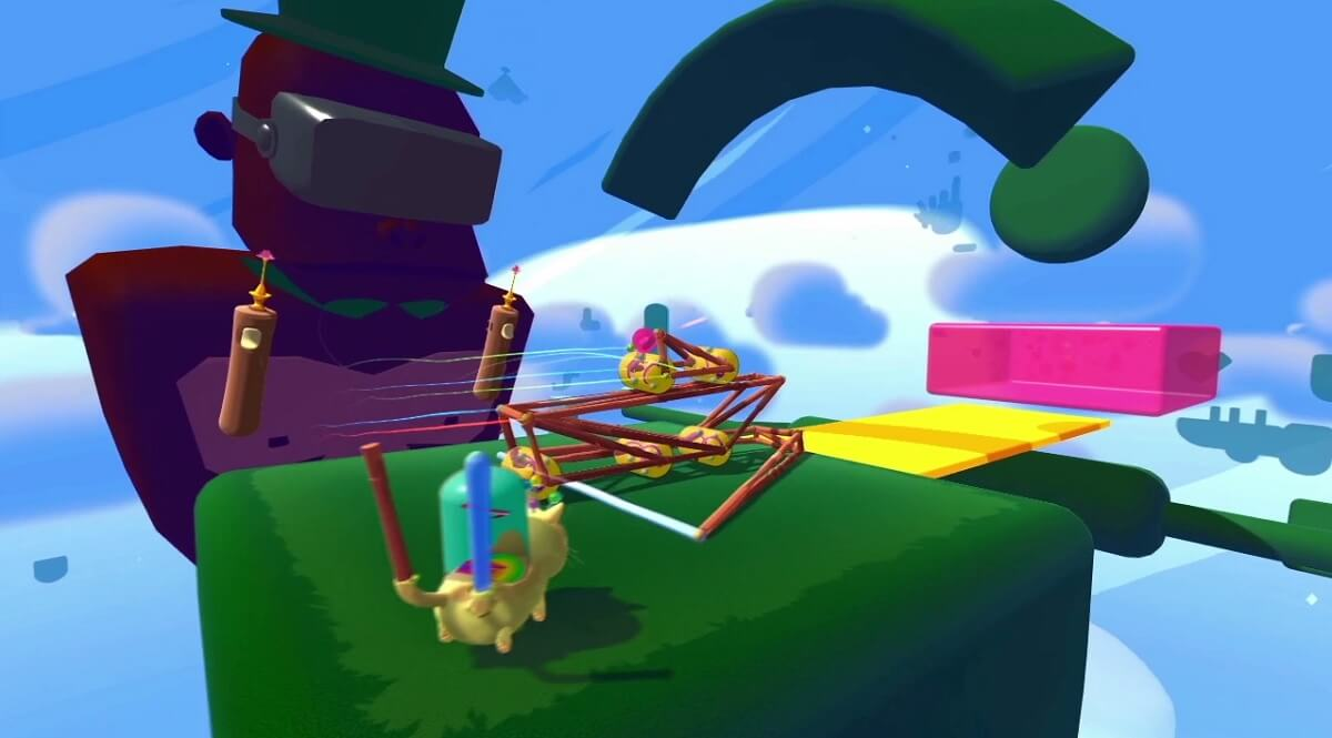 You have to get a pink dot into a pink box in Fantastic Contraption.