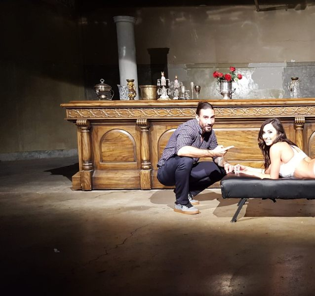 Daniel Dilallo with Reya Sunshine on set at the Armory.