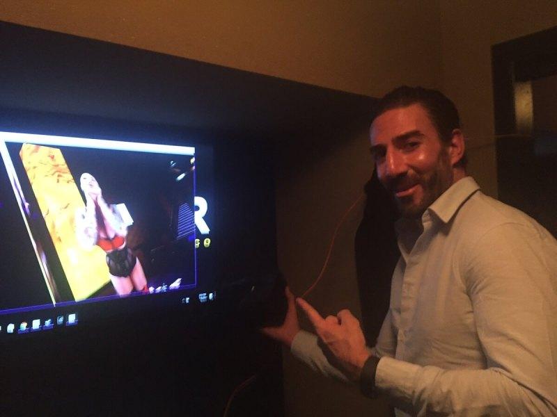 Daniel Dilallo shows off Gold Club VR, a virtual reality strip club experience.