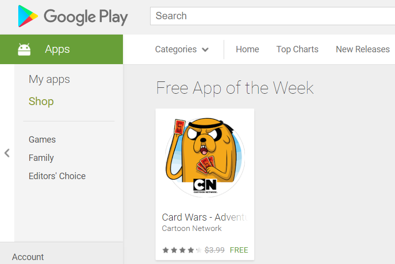 as outlined the google play collection should only ever show one item at any given point this week its card wars adventure time which normally costs - Time Card App Free