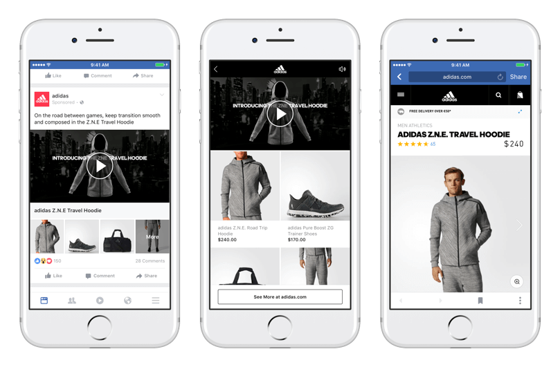 Facebook Collection ads for Adidas