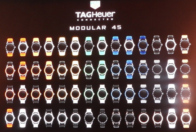 All the different versions of the Tag Heuer Modular 45 watch.