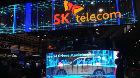 SK Telecom and BMW show a connected car running on a 5G network.