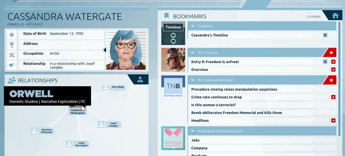 Orwell lets you play the role of an NSC-like investigator.