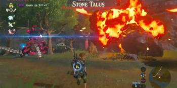 Watch a Guardian ignore Link to fight a Stone Talus in The Legend of Zelda: Breath of the Wild