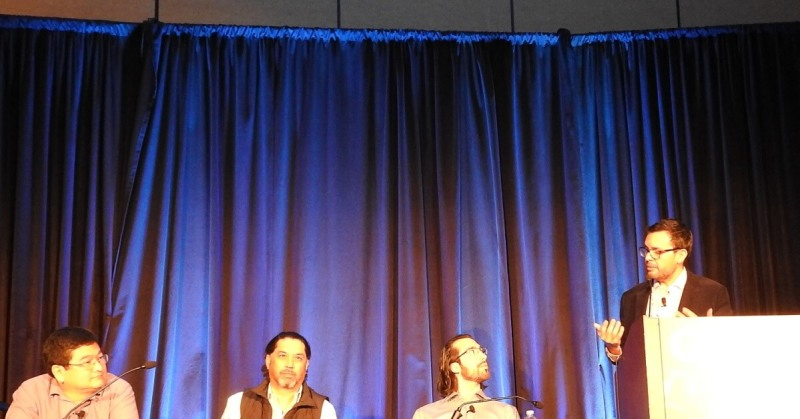 VR panel, left to right: Dean Takahashi, Mihir Shah, Arnaud Dazin, and Nelson Rodriguez.