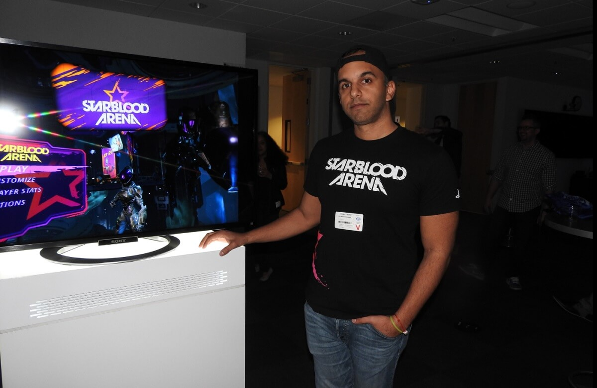 Jay Koottarappallil, CEO of WhiteMoon Dreams, with StarBlood Arena.