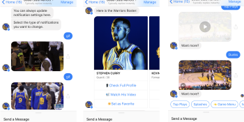 Who needs ESPN? The Golden State Warriors bot sends you video highlights in Facebook Messenger