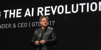 Jensen Huang, CEO of Nvidia, at GPU Tech event.
