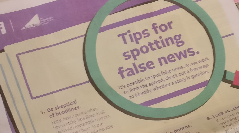 Facebook takes out full-page newspaper ads to help U.K. citizens detect fake news online