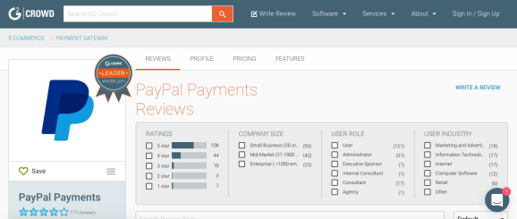 Review of PayPal on G2 Crowd website
