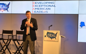 Senator Mark Warner (D-VA) onstage at The New Deal Ideas Summit on May 30, 2017.