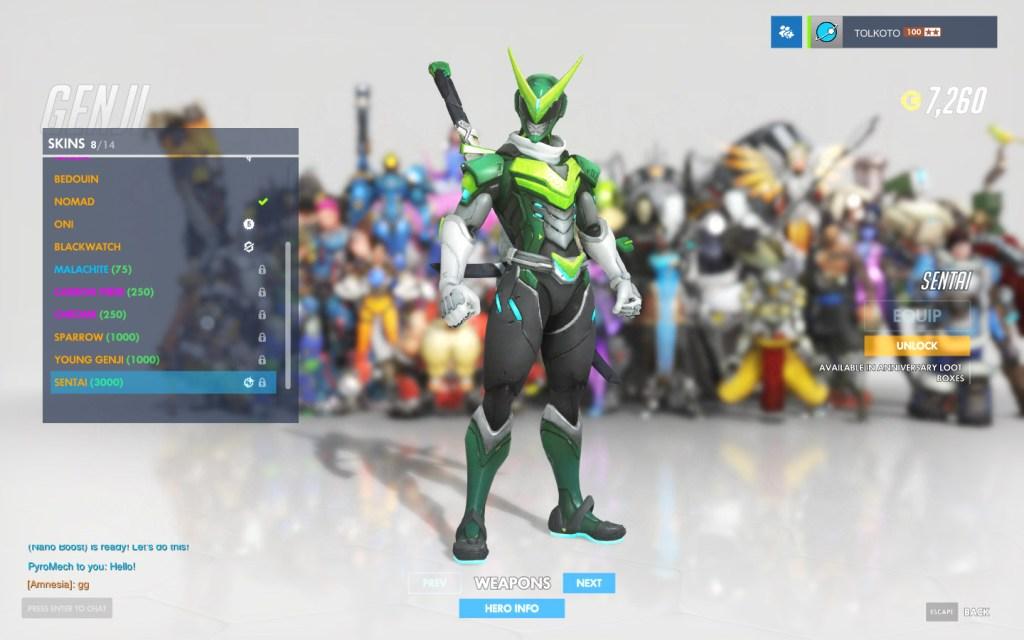 Genji's anniversary skin in Overwatch