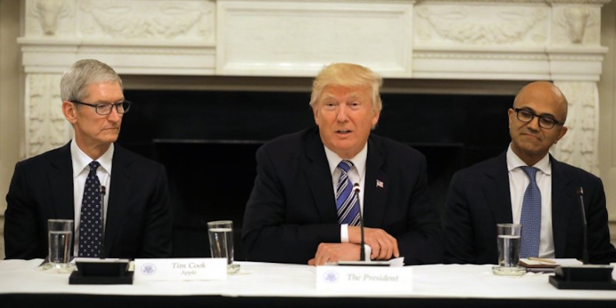 U.S. president Donald Trump participates in an American Technology Council roundtable at the White House, June 19, 2017.