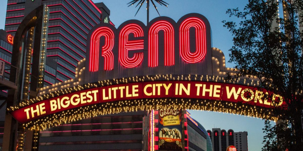 """This is a picture of the famous sign in Reno, Nevada, a city whose nickname is """"The Biggest Little City in the World"""""""