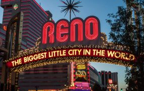 "This is a picture of the famous sign in Reno, Nevada, a city whose nickname is ""The Biggest Little City in the World"""
