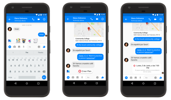 Screenshots of Messenger on Android with intelligent assistant M