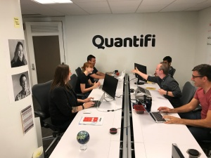 This photo shows workers at Quantifi, which provides AI-powered digital ad experimentation software and is based in Indianapolis, Indiana.