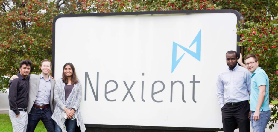 This picture shows the logo of Nexient was launched in 2010, and today has mre than 60 scrum development teams supporting Fortune 500 and high growth mid-market enterprises.