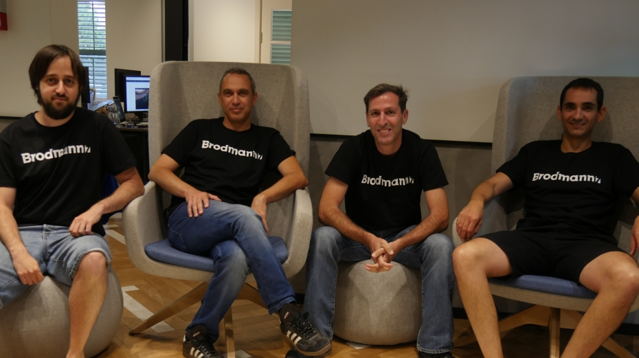 A picture shows the four seated members of Brodmann17's founding team.