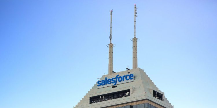 This photo shows Salesforce Tower in Indianapolis is the company's largest hub outside its global headquarters in San Francisco.