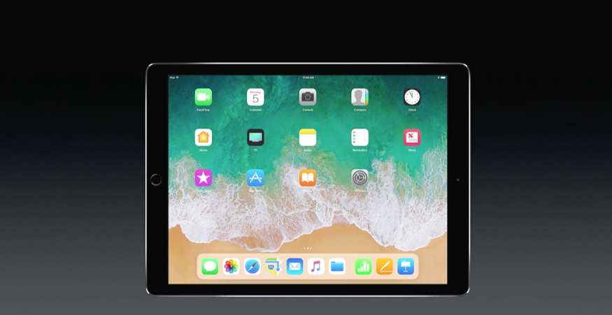 Above An illustration shows the new iPad home screen in iOS 11 on stage