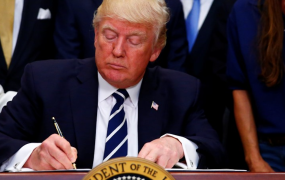 "This photo shows U.S. President Donald J. Trump as he delivers remarks on ""Apprenticeship and Workforce of Tomorrow"" initiatives and signs an executive order at the White House in Washington, U.S. June 15, 2017."