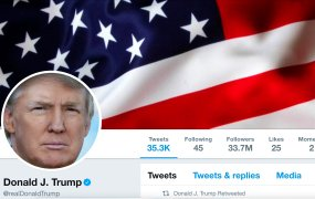 This image shows The masthead of U.S. President Donald Trump's @realDonaldTrump Twitter account is seen on July 11, 2017.