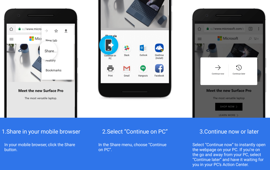 Microsoft releases new Windows 10 preview with Android link sharing