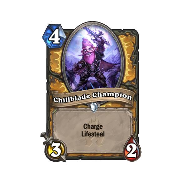 Chillblade Champion's Lifesteal works like Drain in Elder Scrolls: Legends.