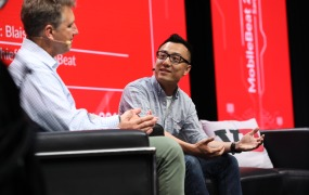 Doordash CEO and founder Tony Xu on stage at MB 2017