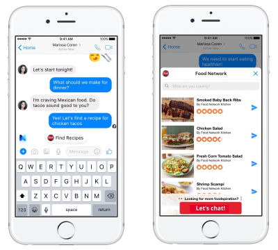 facebook s m now serves up food network recipe suggestions venturebeat
