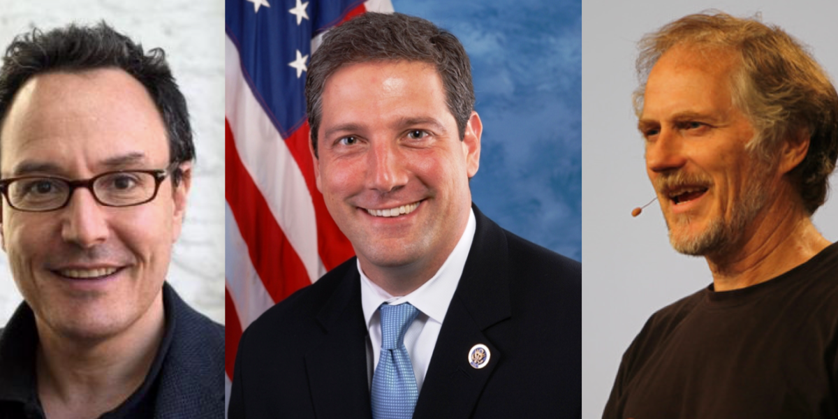 This image shows Peter Hirshberg, Rep. Tim Ryan (D-OH), and Tim O'Reilly held a conversation in May 2017 with San FrancisciBay Area entrepreneurs on connecting the middle of the country to Silicon Valley for growth.