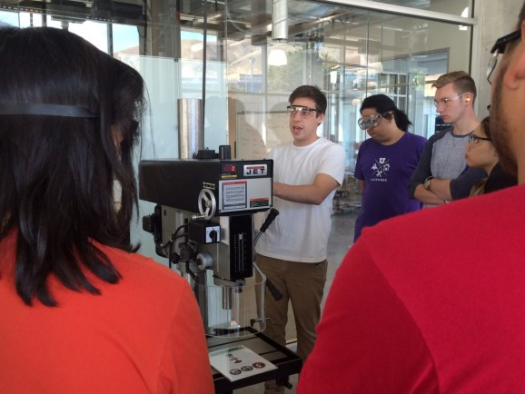 This photo shows University of Utah students at the Lassonde Entrepreneur Institute's Makerspace.