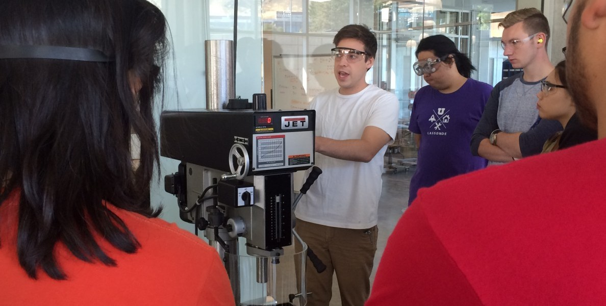 This photo shows University of Utah students at the Lassonde Entrepreneur Institute's Makerspace.