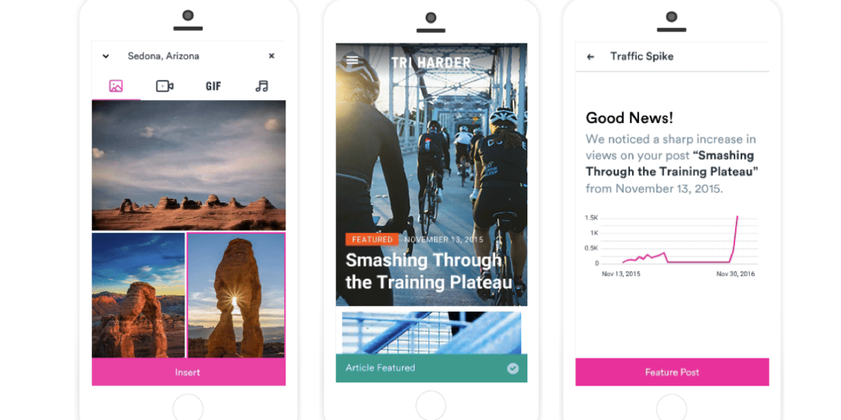 """Three images showing screen shots of how Verst brings """"mobile first"""" to content management systems."""