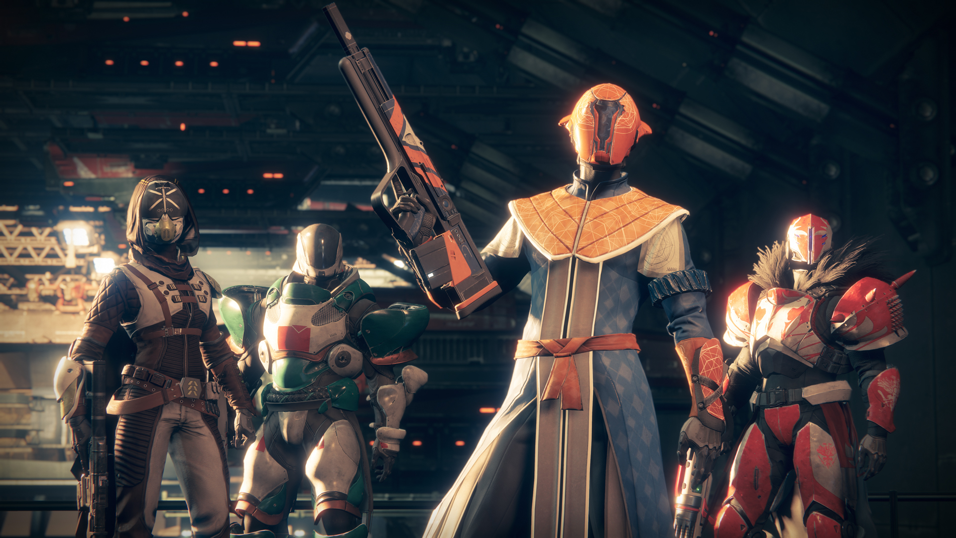 A screenshot of four Guardian warriors standing at ease, ready for a fight.