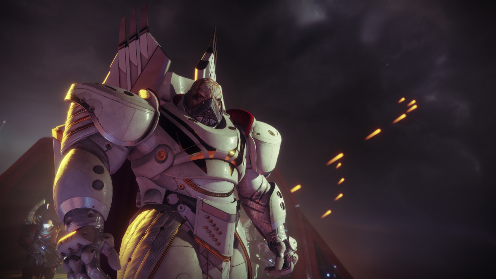 Screenshot of Ghaul, a hulking alien warrior in ornate, white armor.